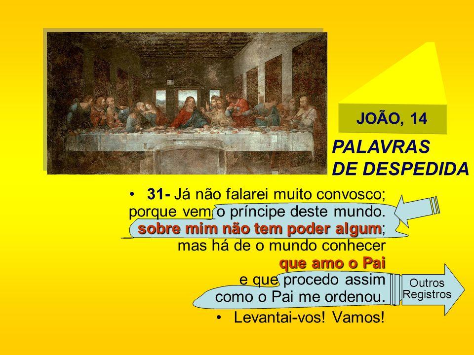 JOÃO, 14 sobre mim não tem poder algum que amo o Pai31- Já não falarei muito convosco; porque vem o príncipe deste mundo. sobre mim não tem poder algu