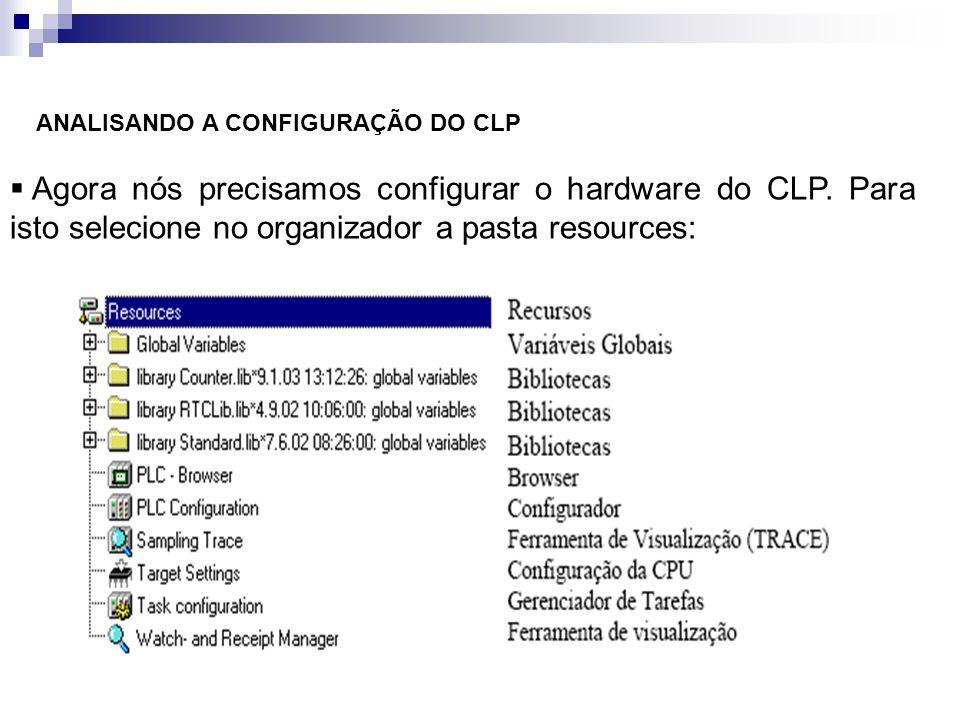 ANALISANDO A CONFIGURAÇÃO DO CLP Agora nós precisamos configurar o hardware do CLP. Para isto selecione no organizador a pasta resources: