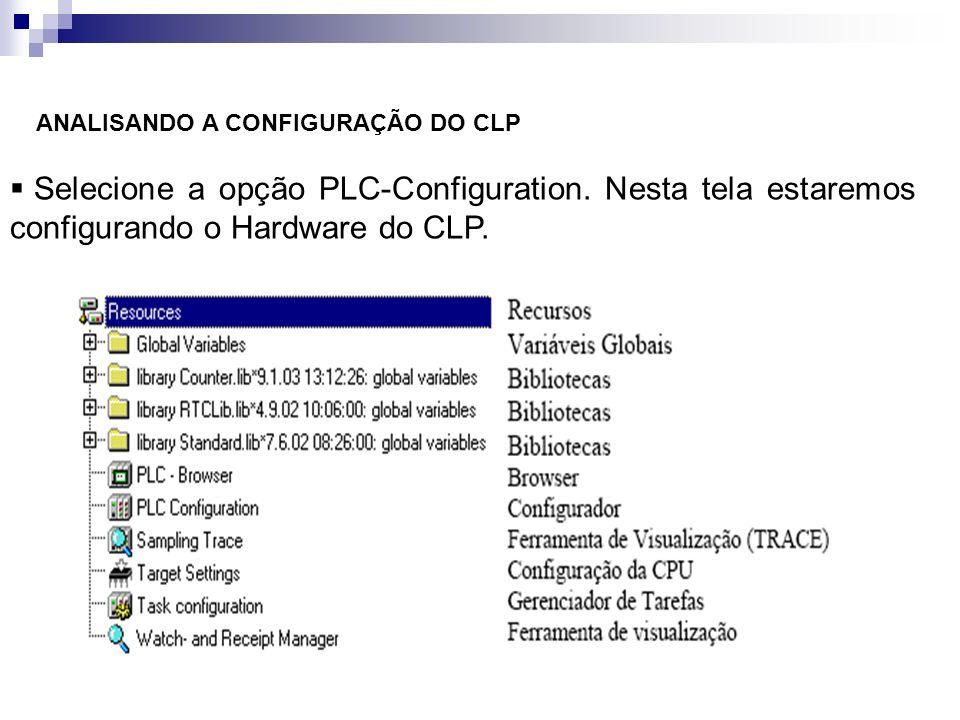 ANALISANDO A CONFIGURAÇÃO DO CLP Selecione a opção PLC-Configuration. Nesta tela estaremos configurando o Hardware do CLP.