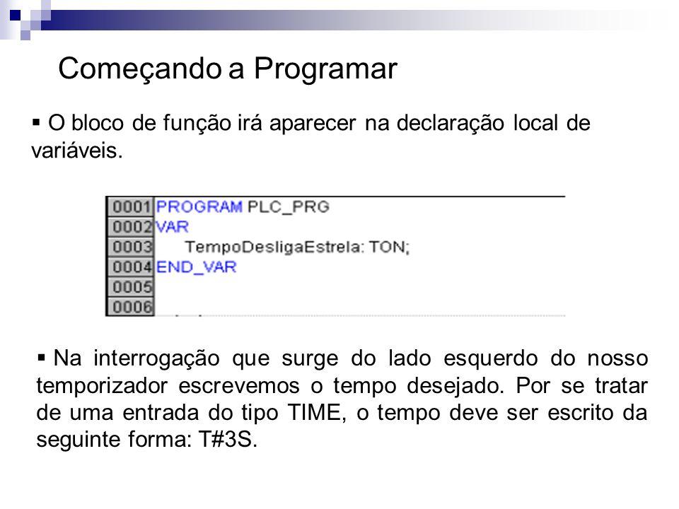 Começando a Programar O bloco de função irá aparecer na declaração local de variáveis. Na interrogação que surge do lado esquerdo do nosso temporizado