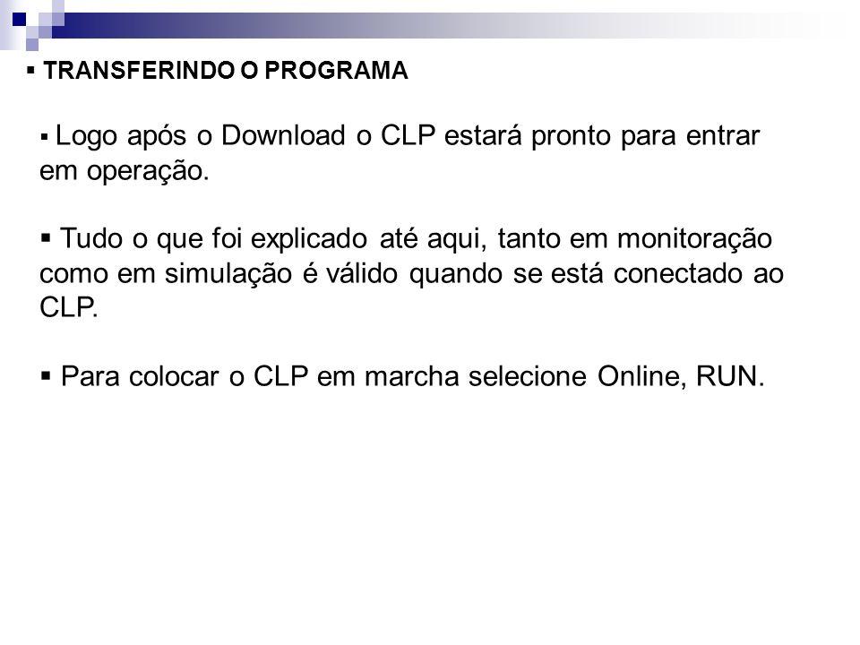 TRANSFERINDO O PROGRAMA Logo após o Download o CLP estará pronto para entrar em operação. Tudo o que foi explicado até aqui, tanto em monitoração como