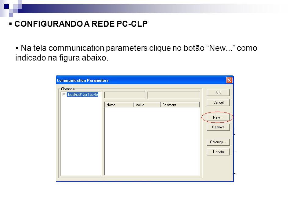 CONFIGURANDO A REDE PC-CLP Na tela communication parameters clique no botão New... como indicado na figura abaixo.