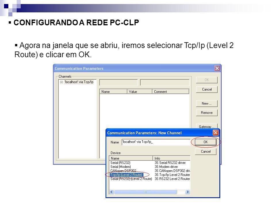 CONFIGURANDO A REDE PC-CLP Agora na janela que se abriu, iremos selecionar Tcp/Ip (Level 2 Route) e clicar em OK.