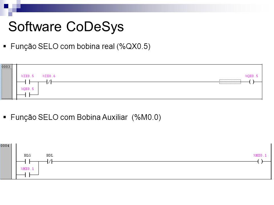 Software CoDeSys Função SELO com bobina real (%QX0.5) Função SELO com Bobina Auxiliar (%M0.0)