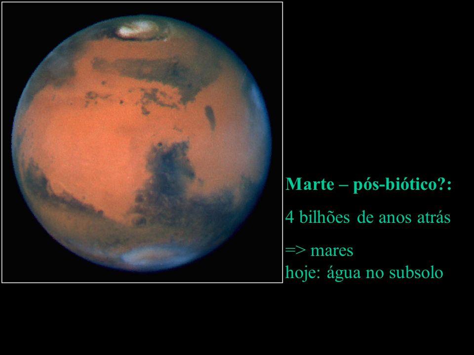 Marte – pós-biótico?: 4 bilhões de anos atrás => mares hoje: água no subsolo