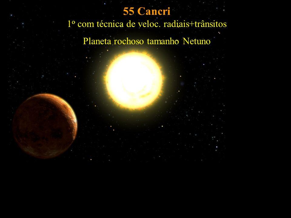 55 Cancri 1 o com técnica de veloc. radiais+trânsitos Planeta rochoso tamanho Netuno