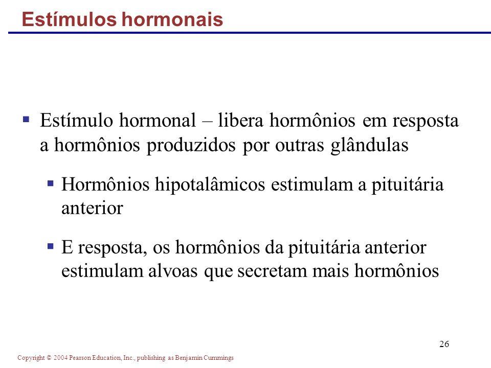Copyright © 2004 Pearson Education, Inc., publishing as Benjamin Cummings 26 Estímulo hormonal – libera hormônios em resposta a hormônios produzidos p