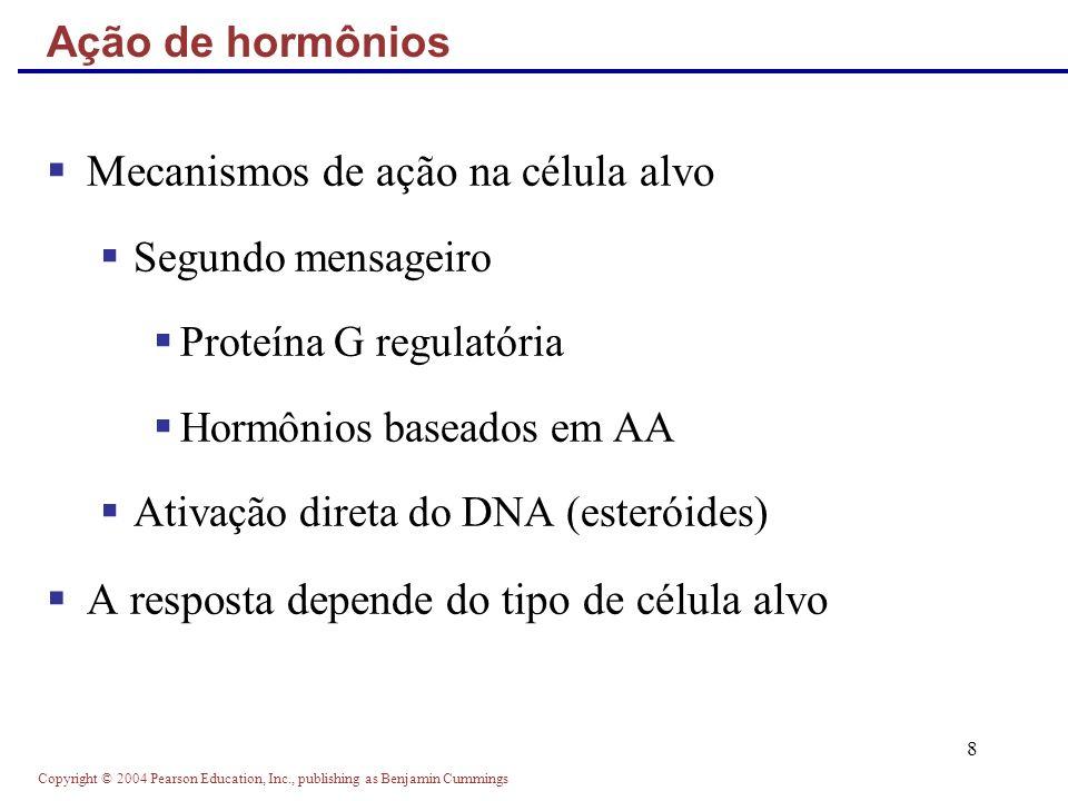 Copyright © 2004 Pearson Education, Inc., publishing as Benjamin Cummings 19 Circulam livres ou ligados Os esteróides e THs circulam ligados à proteínas Os demais são hidrossolúveis Concentrações sanguíneas de hormônios