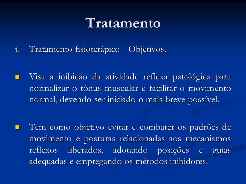 Tratamento 1. Tratamento fisioterápico - Objetivos. Visa à inibição da atividade reflexa patológica para normalizar o tônus muscular e facilitar o mov