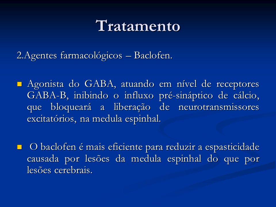 Tratamento 2.Agentes farmacológicos – Baclofen. Agonista do GABA, atuando em nível de receptores GABA-B, inibindo o influxo pré-sináptico de cálcio, q