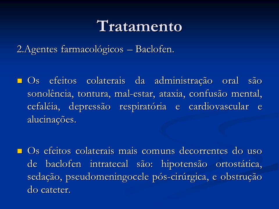 Tratamento 2.Agentes farmacológicos – Baclofen. Os efeitos colaterais da administração oral são sonolência, tontura, mal-estar, ataxia, confusão menta