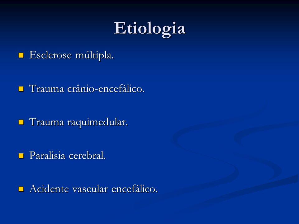 Etiologia Esclerose múltipla. Esclerose múltipla. Trauma crânio-encefálico. Trauma crânio-encefálico. Trauma raquimedular. Trauma raquimedular. Parali