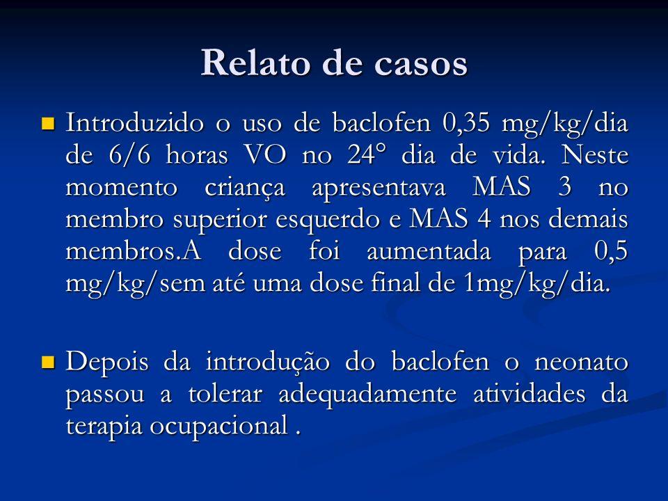 Relato de casos Introduzido o uso de baclofen 0,35 mg/kg/dia de 6/6 horas VO no 24° dia de vida. Neste momento criança apresentava MAS 3 no membro sup