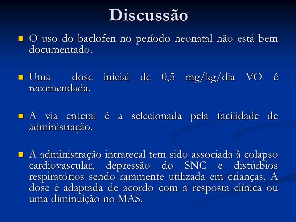 Discussão O uso do baclofen no período neonatal não está bem documentado. O uso do baclofen no período neonatal não está bem documentado. Uma dose ini