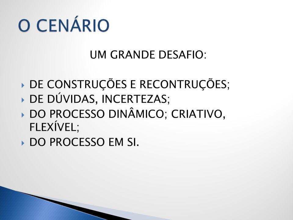 UM GRANDE DESAFIO: DE CONSTRUÇÕES E RECONTRUÇÕES; DE DÚVIDAS, INCERTEZAS; DO PROCESSO DINÂMICO; CRIATIVO, FLEXÍVEL; DO PROCESSO EM SI.