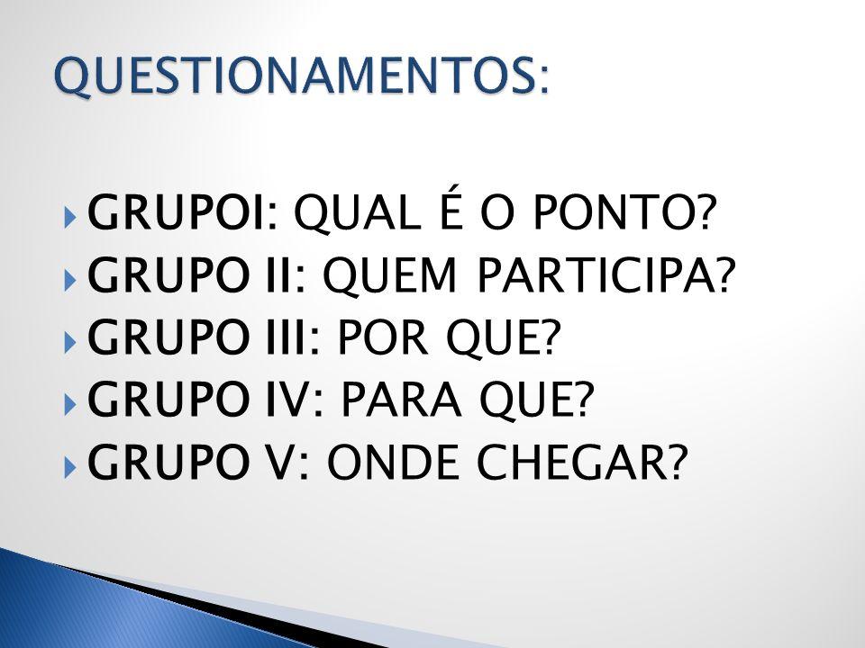 GRUPOI: QUAL É O PONTO? GRUPO II: QUEM PARTICIPA? GRUPO III: POR QUE? GRUPO IV: PARA QUE? GRUPO V: ONDE CHEGAR?
