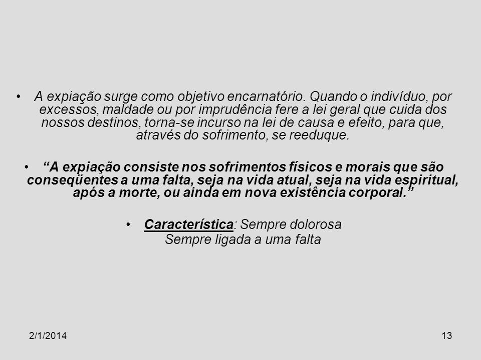2/1/201413 A expiação surge como objetivo encarnatório. Quando o indivíduo, por excessos, maldade ou por imprudência fere a lei geral que cuida dos no