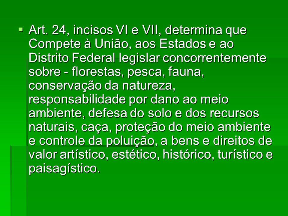 Art. 24, incisos VI e VII, determina que Compete à União, aos Estados e ao Distrito Federal legislar concorrentemente sobre - florestas, pesca, fauna,