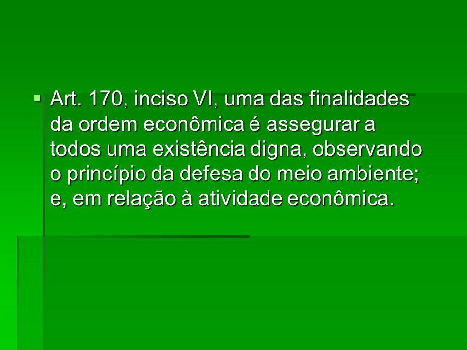 Art. 170, inciso VI, uma das finalidades da ordem econômica é assegurar a todos uma existência digna, observando o princípio da defesa do meio ambient