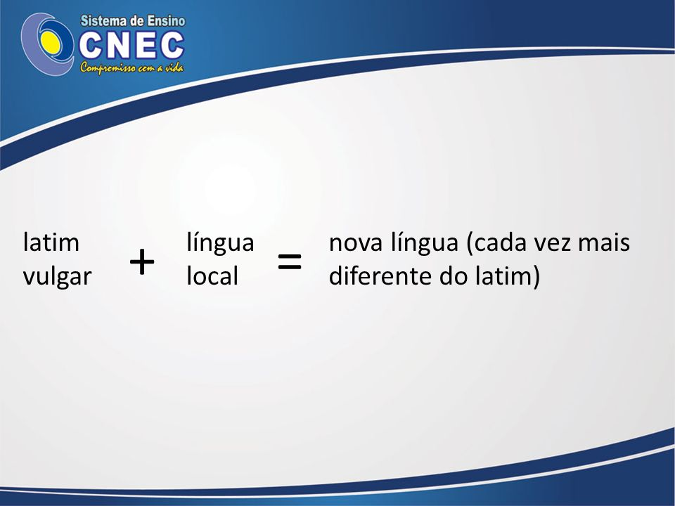 latim vulgar língua local nova língua (cada vez mais diferente do latim) +=