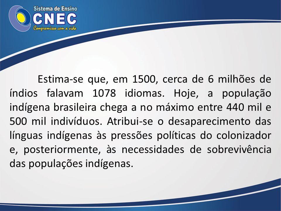 Estima-se que, em 1500, cerca de 6 milhões de índios falavam 1078 idiomas. Hoje, a população indígena brasileira chega a no máximo entre 440 mil e 500