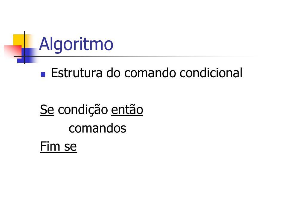 Algoritmo Estrutura do comando condicional Se condição então comandos Fim se