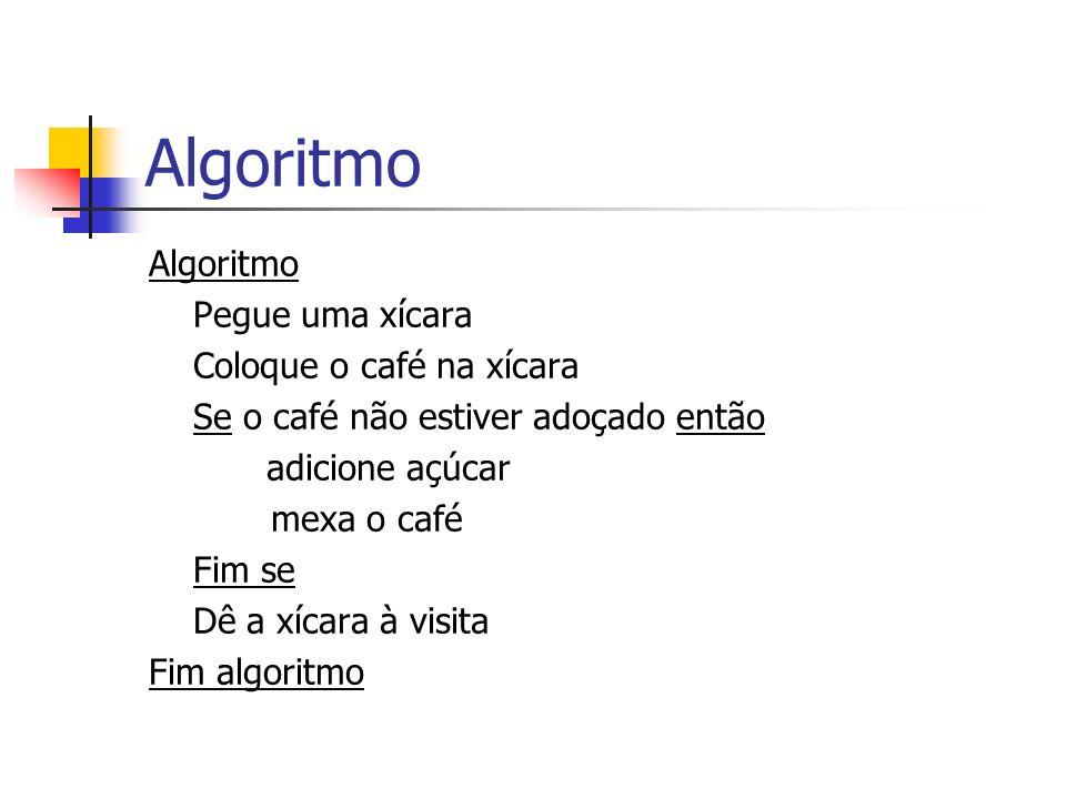 Algoritmo Pegue uma xícara Coloque o café na xícara Se o café não estiver adoçado então adicione açúcar mexa o café Fim se Dê a xícara à visita Fim al