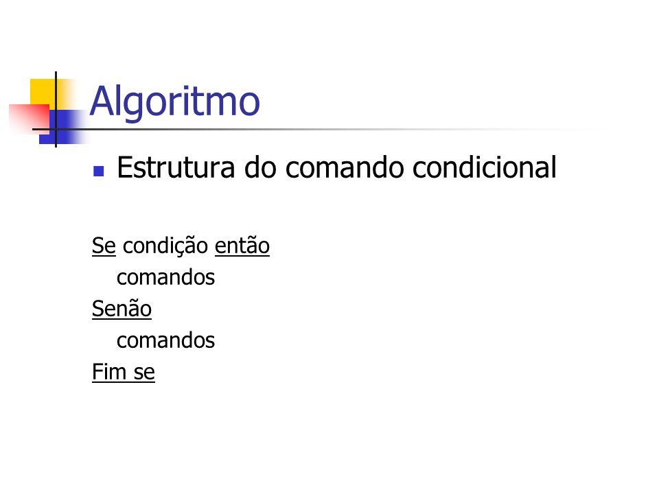 Algoritmo Estrutura do comando condicional Se condição então comandos Senão comandos Fim se