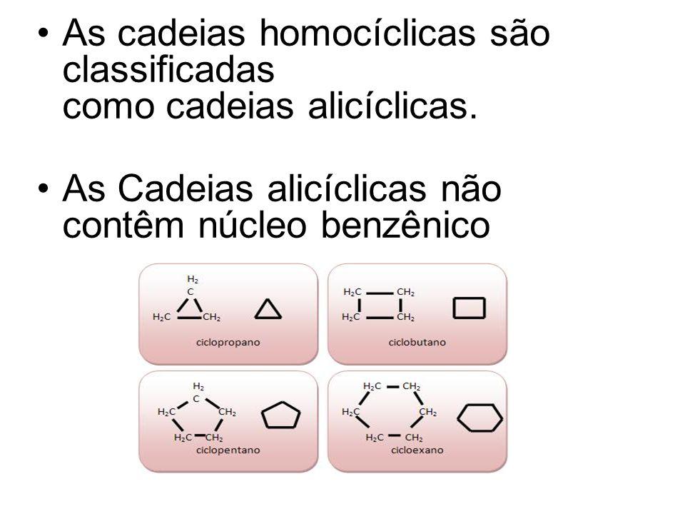 As cadeias homocíclicas são classificadas como cadeias alicíclicas. As Cadeias alicíclicas não contêm núcleo benzênico
