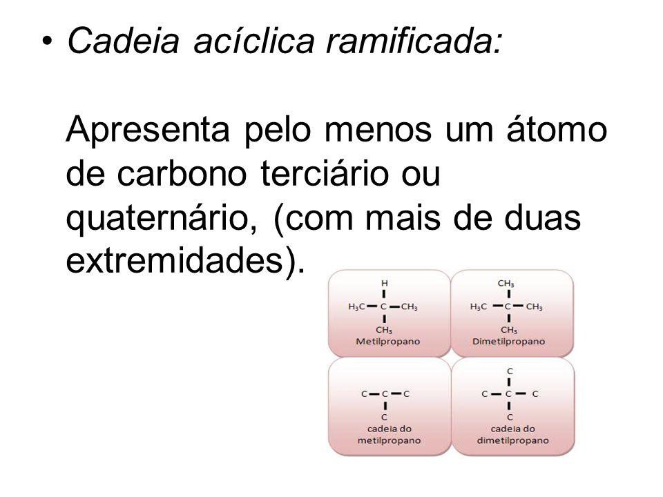 Cadeia acíclica ramificada: Apresenta pelo menos um átomo de carbono terciário ou quaternário, (com mais de duas extremidades).
