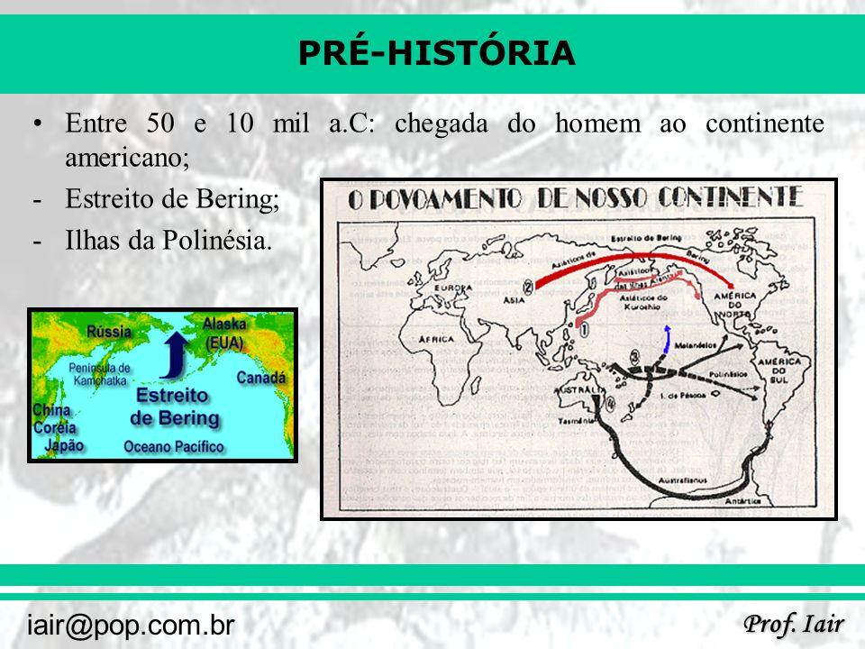PRÉ-HISTÓRIA Prof. Iair iair@pop.com.br Entre 50 e 10 mil a.C: chegada do homem ao continente americano; -Estreito de Bering; -Ilhas da Polinésia.