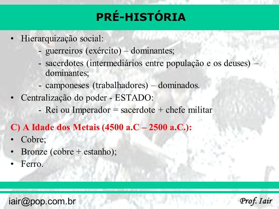 PRÉ-HISTÓRIA Prof. Iair iair@pop.com.br Hierarquização social: -guerreiros (exército) – dominantes; -sacerdotes (intermediários entre população e os d