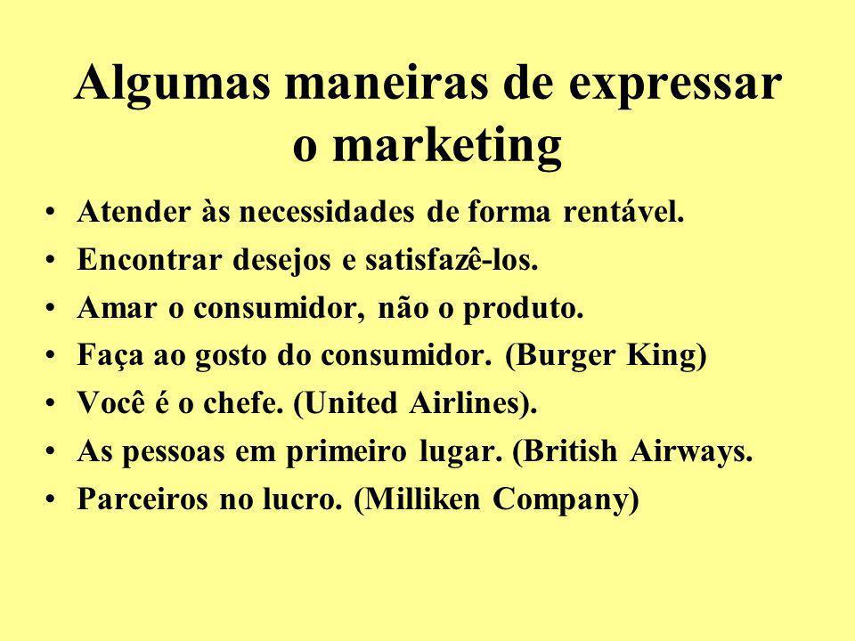 Algumas maneiras de expressar o marketing Atender às necessidades de forma rentável. Encontrar desejos e satisfazê-los. Amar o consumidor, não o produ