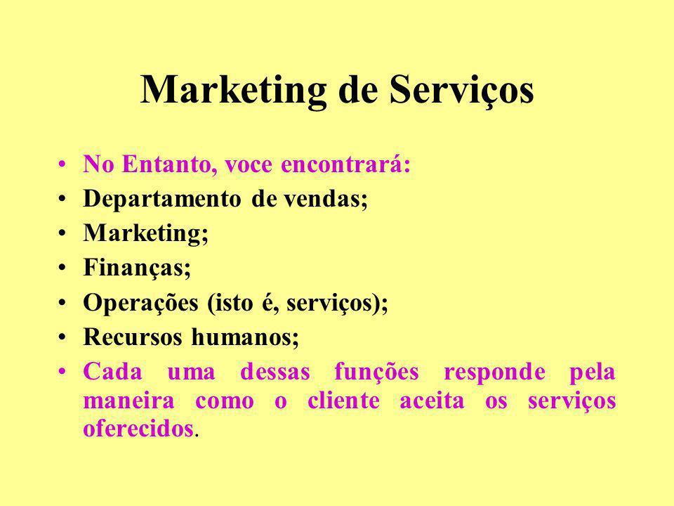 Marketing de Serviços No Entanto, voce encontrará: Departamento de vendas; Marketing; Finanças; Operações (isto é, serviços); Recursos humanos; Cada u