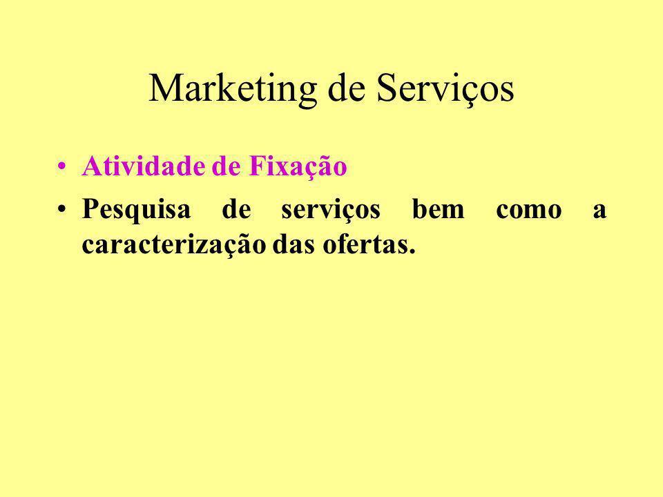 Marketing de Serviços Atividade de Fixação Pesquisa de serviços bem como a caracterização das ofertas.