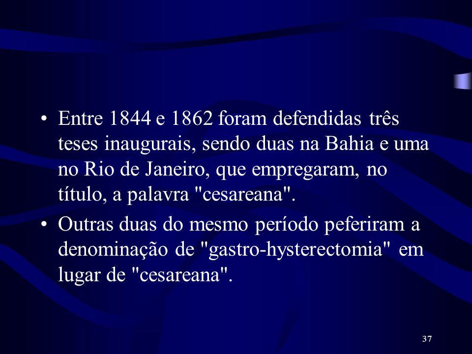 37 Entre 1844 e 1862 foram defendidas três teses inaugurais, sendo duas na Bahia e uma no Rio de Janeiro, que empregaram, no título, a palavra