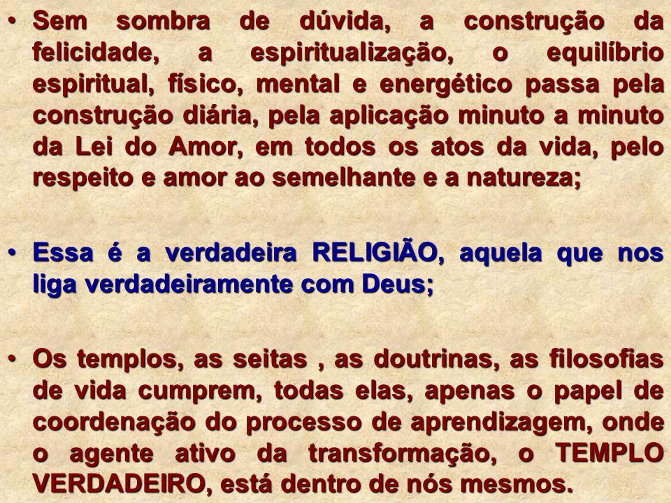 Sem sombra de dúvida, a construção da felicidade, a espiritualização, o equilíbrio espiritual, físico, mental e energético passa pela construção diári