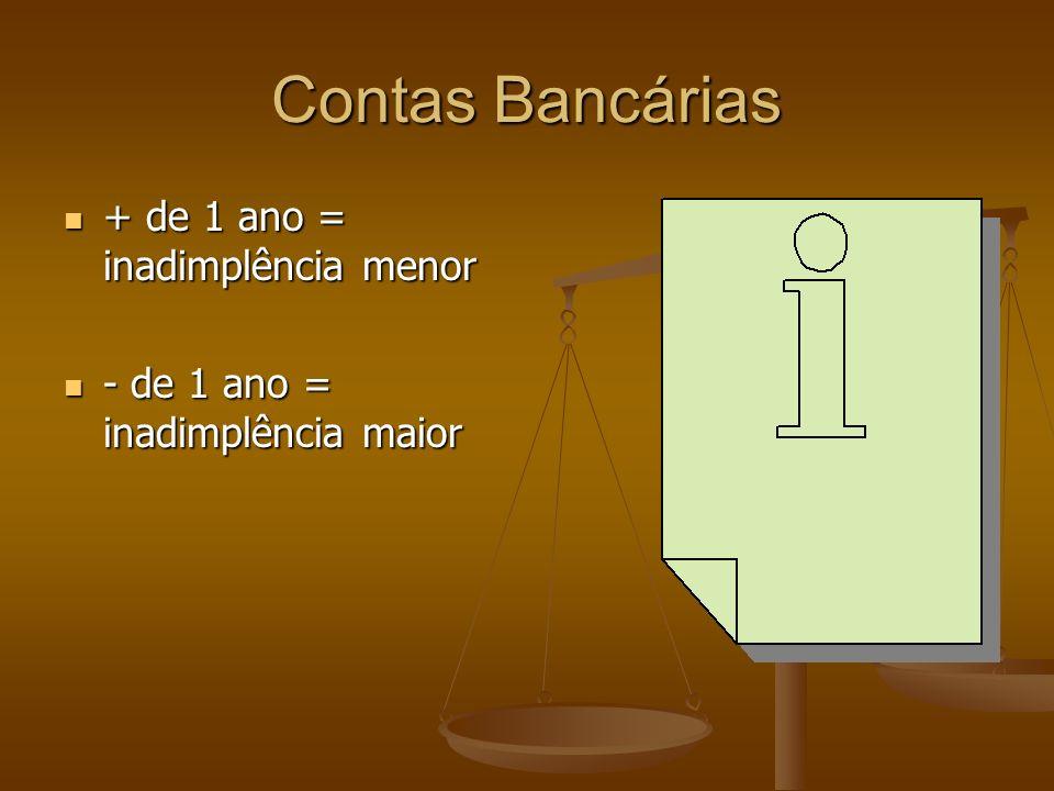 Contas Bancárias + de 1 ano = inadimplência menor + de 1 ano = inadimplência menor - de 1 ano = inadimplência maior - de 1 ano = inadimplência maior