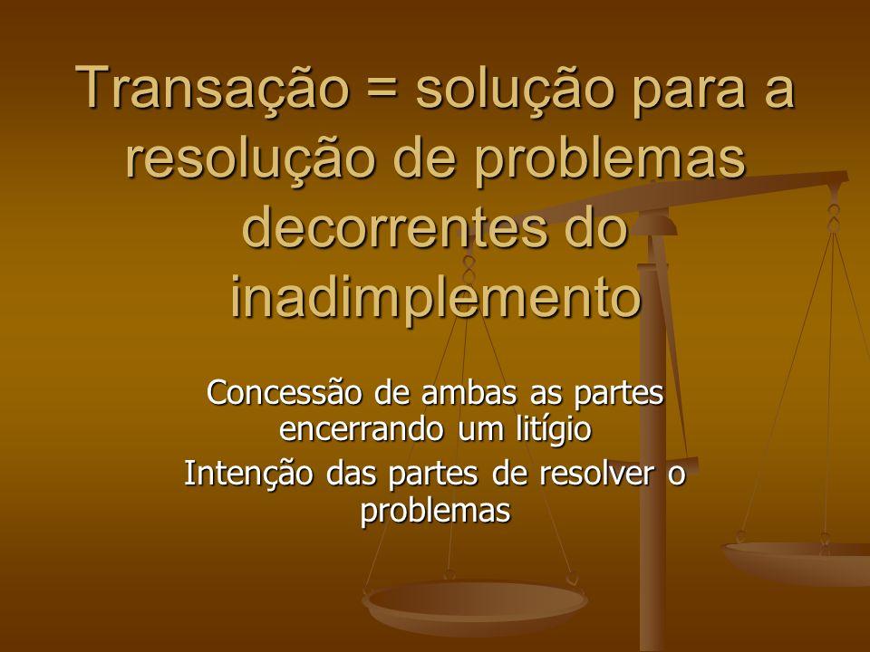 Transação = solução para a resolução de problemas decorrentes do inadimplemento Concessão de ambas as partes encerrando um litígio Intenção das partes