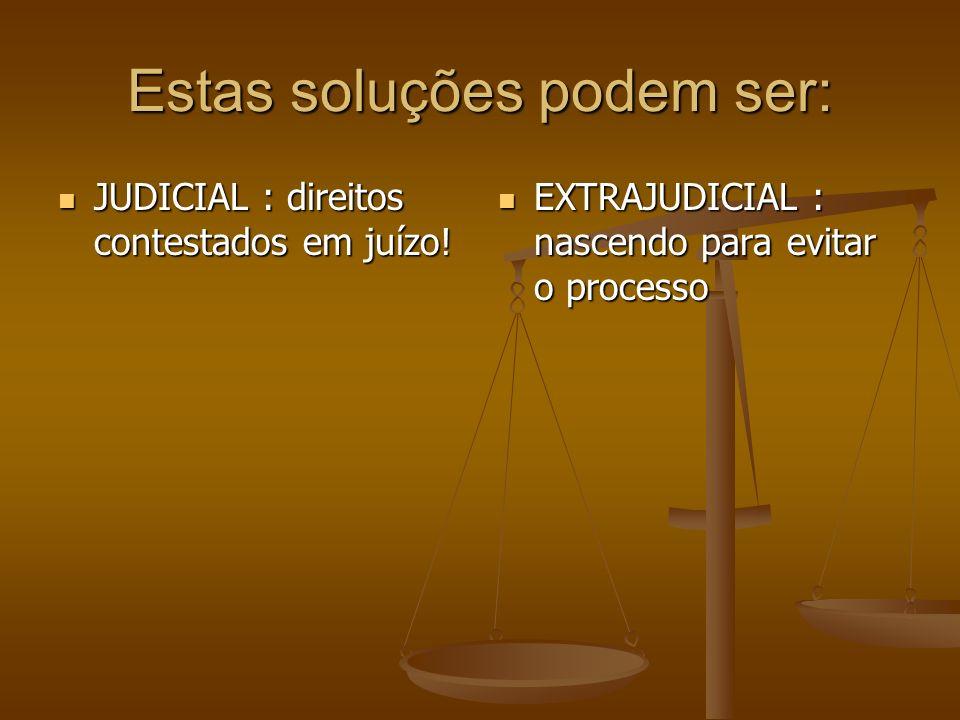 Estas soluções podem ser: JUDICIAL : direitos contestados em juízo! JUDICIAL : direitos contestados em juízo! EXTRAJUDICIAL : nascendo para evitar o p