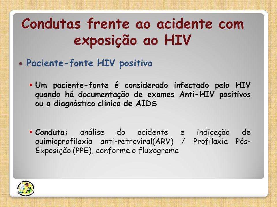 Condutas frente ao acidente com exposição ao HIV Paciente-fonte HIV positivo Um paciente-fonte é considerado infectado pelo HIV quando há documentação