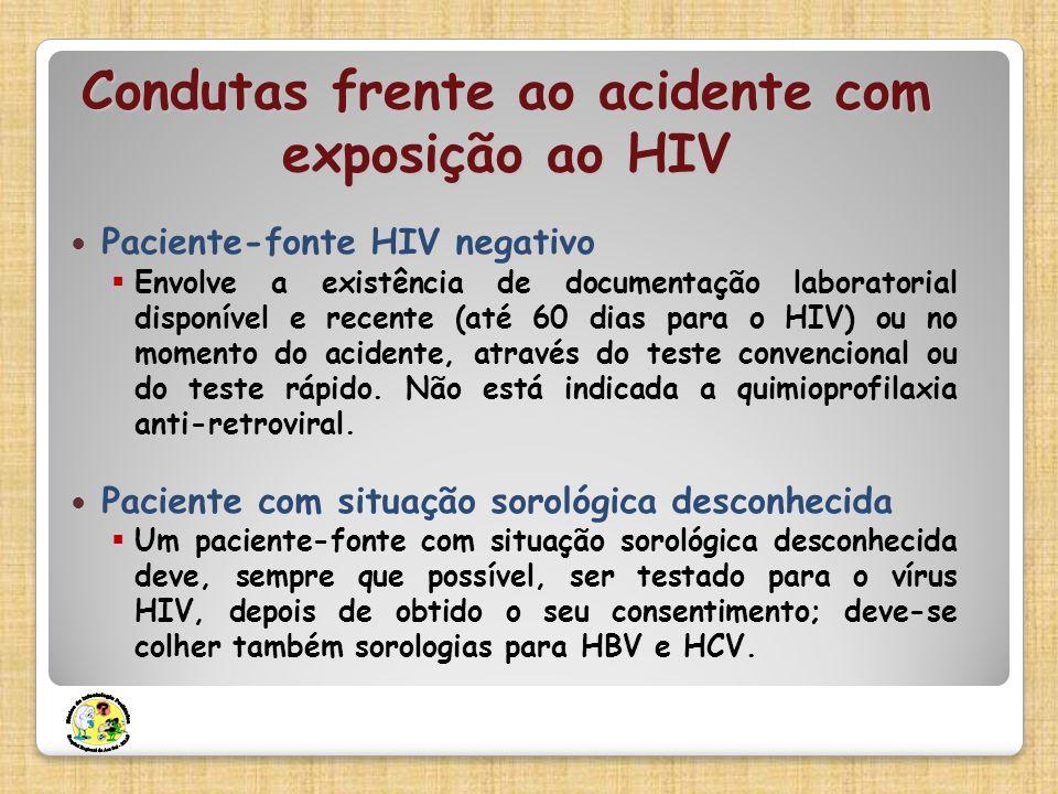 Condutas frente ao acidente com exposição ao HIV Paciente-fonte HIV negativo Envolve a existência de documentação laboratorial disponível e recente (a