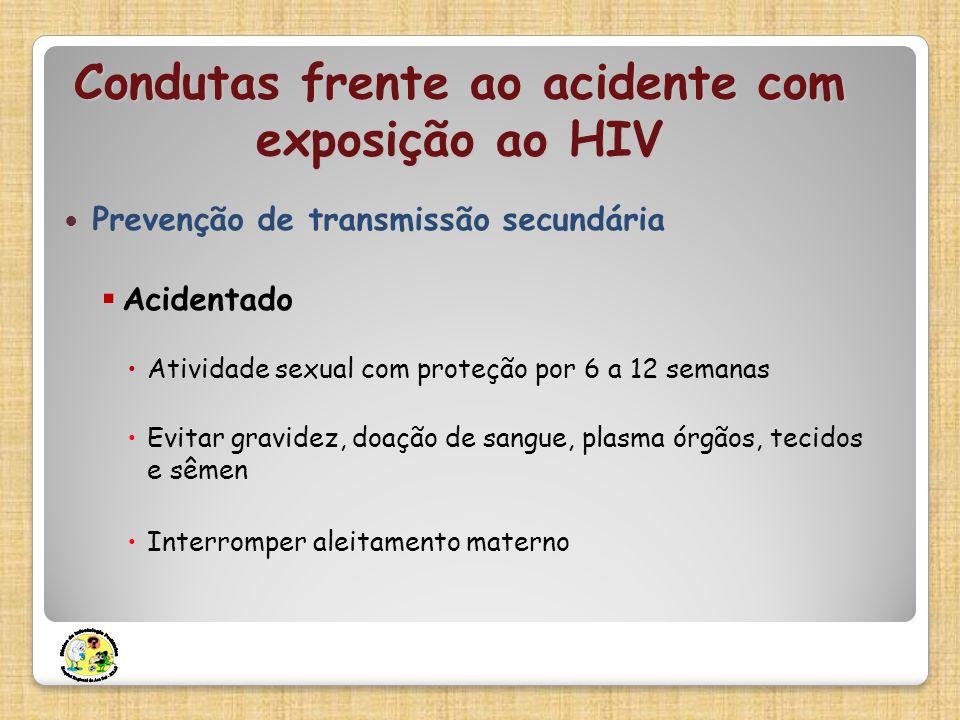 Condutas frente ao acidente com exposição ao HIV Prevenção de transmissão secundária Acidentado Atividade sexual com proteção por 6 a 12 semanas Evita