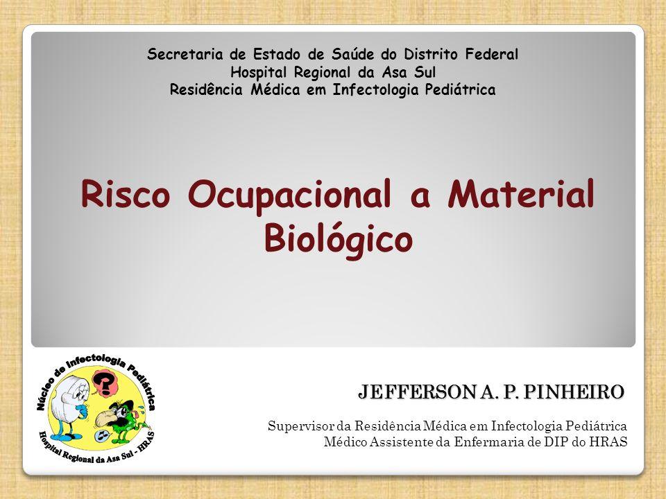 Secretaria de Estado de Saúde do Distrito Federal Hospital Regional da Asa Sul Residência Médica em Infectologia Pediátrica JEFFERSON A. P. PINHEIRO S