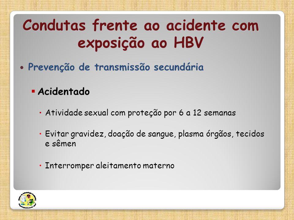 Prevenção de transmissão secundária Acidentado Atividade sexual com proteção por 6 a 12 semanas Evitar gravidez, doação de sangue, plasma órgãos, teci