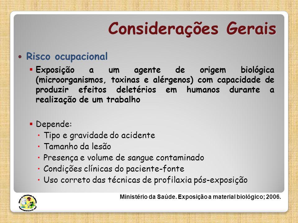Considerações Gerais Risco ocupacional Exposição a um agente de origem biológica (microorganismos, toxinas e alérgenos) com capacidade de produzir efe