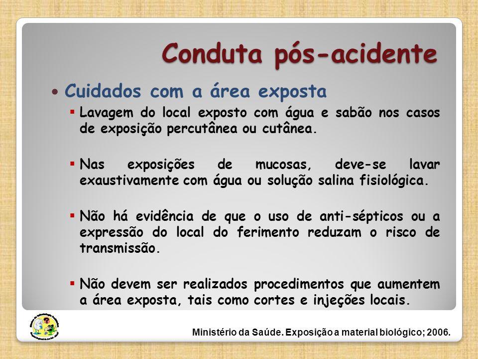 Conduta pós-acidente Cuidados com a área exposta Lavagem do local exposto com água e sabão nos casos de exposição percutânea ou cutânea. Nas exposiçõe