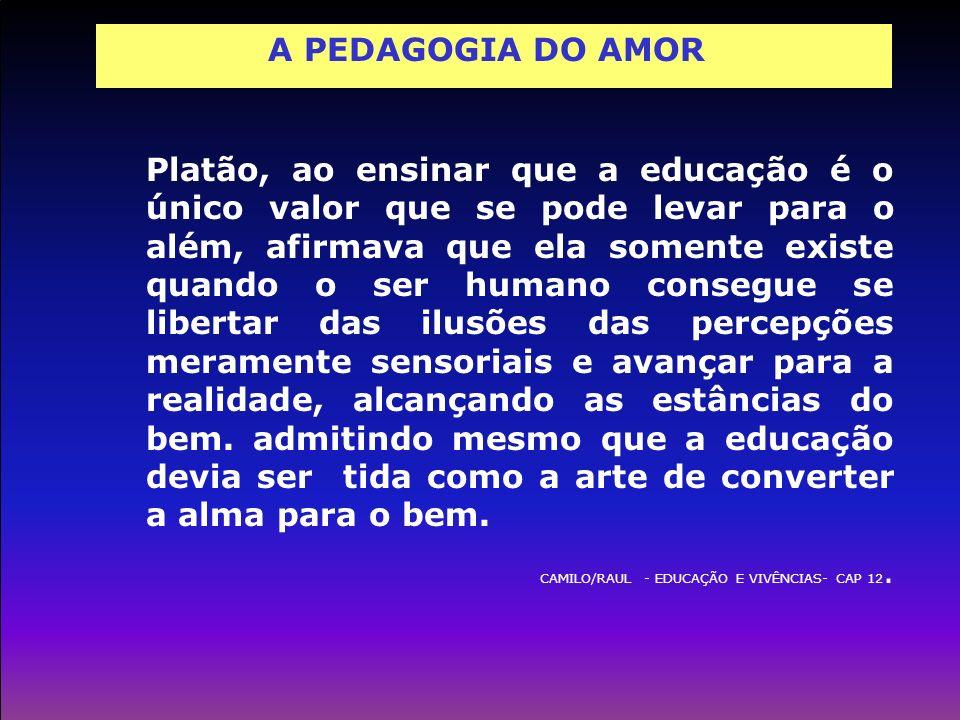 A PEDAGOGIA DO AMOR Platão, ao ensinar que a educação é o único valor que se pode levar para o além, afirmava que ela somente existe quando o ser huma