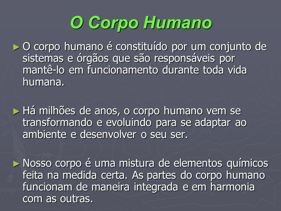 O Corpo Humano O corpo humano é constituído por um conjunto de sistemas e órgãos que são responsáveis por mantê-lo em funcionamento durante toda vida