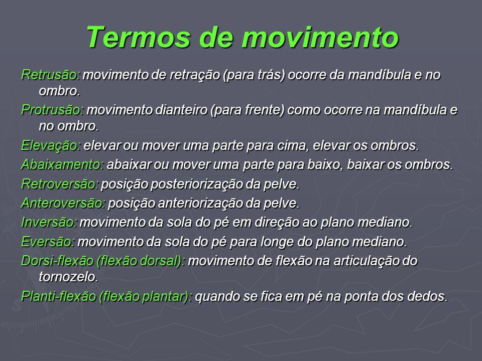 Termos de movimento Retrusão: movimento de retração (para trás) ocorre da mandíbula e no ombro. Protrusão: movimento dianteiro (para frente) como ocor